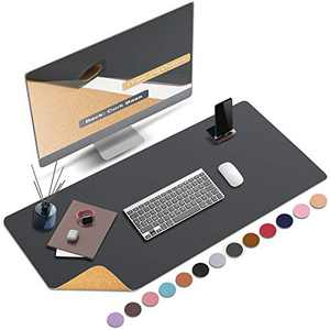 """ABRAIGO 36""""x 17"""" Large Natural Cork & PU Leather Desk Pad, Double-Sided Desk Mat Mouse Pad, Waterproof Desk Protector (Gray)"""