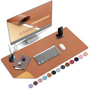 """ABRAIGO 36""""x 17"""" Large Natural Cork & PU Leather Desk Pad, Double-Sided Desk Mat Mouse Pad, Waterproof Desk Protector (Bright Brown)"""