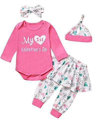 Happidoo Baby Girls My First Valentine's Day Bodysuit with Skirt Set (Pink, 3-6 Months)