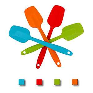 4pcs Silicone Spatulas Heat-Resistant Spatulas,Non-stick Rubber Spatulas with Stainless Steel Core foe Kitchen Home Baking