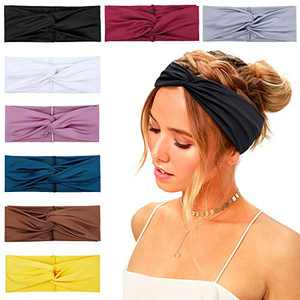 Huachi Women Headbands Headwraps Twisted Wide Elastic Turban Thick Hair Accessories, 8 Pack
