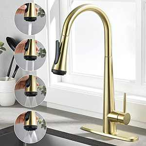 Rainovo Kitchen Faucet with 4 Mode Pull Down Sprayer Brushed Gold, 3 Hole Kitchen Sink Faucet Stainless Steel with Deck Plate, Single Handle Faucets High Arc Commercial Modern with Pull Out Sprayer