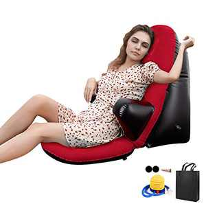 Inflatable Chair, Portable Home Outdoor Leisure Sofa Chair, for Dad Couch Air Sofa for Camping, Traveling, Hiking, Backyard, Reading, Carrying Floor Chair Air Sofa Casual (Red)