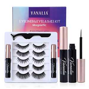 Vanalia Magnetic Eyelashes with Eyeliner,Magnetic Eyelashes and Lashes Kit,3D 5D False Lashes, 5 Pairs with Tweezers, Easy to Wear-No Glue Needed