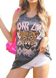Sofia's Choice Distressed Tank Top Tiger Long Live Rock'n'Roll Tunic Shirts Grey M