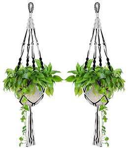 Macrame Plant Hanger 2 Pack, Gardening Flowerpot Holder Indoor Outdoor Hanging Basket Decorative Hand-Woven Cotton Rope Flower Pot Holder 4 Legs 43 Inch