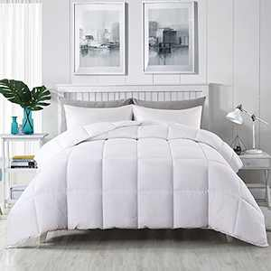 EDUJIN All Season Twin Size Comforter, Soft Quilted Down Alternative Comforter Hotel Luxury Collection Reversible Duvet Insert with Corner Tabs, Fluffy , White, 64 x 88 inches