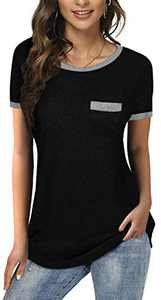 Womens Short Sleeve Color Block T Shirt Round Neck Tunic Tops Cotton Loose Casual Pocket Tees Blouses Black