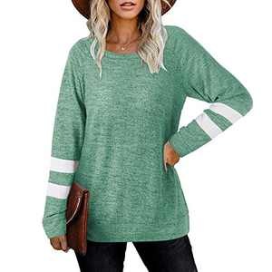 2021 Womens Tunic Tops Long Sleeve Loose Fitting Daily Casual Tops, Casual Fall Pullover Oversized T-shirts (Green, S)