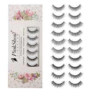 PINKSHOW False Eyelashes 5 Styles Natural Look 3D Fakes Eyelashes Fluffy Reusable 100% Handmade Lashes Wispies Short Soft Reusable Eye Lash (10 pairs)