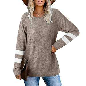 2021 Womens Tunic Tops Long Sleeve Loose Fitting Daily Casual Tops, Casual Fall Pullover Oversized T-shirts (Khaki, S)