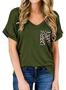 RULINJU Women's Short Sleeve T Shirts V-Neck Tunic Tops Loose Casual Tees Front Leopard Pocket (XX-Large, B07_Army Green)