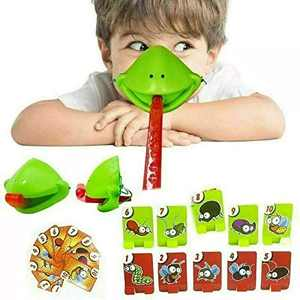 Tongue Catch Bugs Game, Interactive Desktop Frog Eating Mosquito Funny Board Game, Greedy Chameleon Card Funny Family Party Tic Tac Novelty Toys