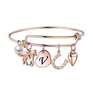 Anoup Horse Charm Bracelet for Girls Women, Stainless Steel Charm Bracelets Engraved 26 Letters Charm Bracelets for Women Girls Initial V Charm Bracelet Horse Gifts for Girls Kids Rose Gold