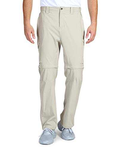 33,000ft Men's Convertible Pants, Quick Dry Hiking Zip-Off Pants, Stretch Lightweight Cargo Pants Khaki