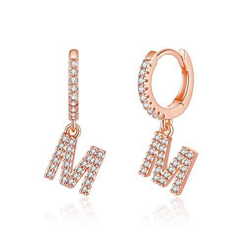 Initial Huggie Hoop Earrings for Women Girls, 925 Sterling Silver Post 14K Rose Gold Plated Cubic Zirconia Letter M Initial Dangle Hoop Earrings Dainty Cute Hypoallergenic Earrings for Women Girls