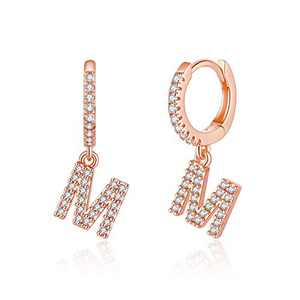 Initial Huggie Hoop Earrings for Women Girls, 925 Sterling Silver Post 14K Rose Gold Plated Cubic Zirconia Letter M Initial Dangle Hoop Earrings Dainty Cute Hypoallergenic Earrings for Women Girls