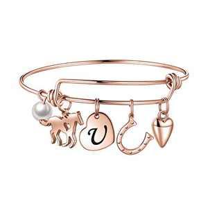 Horse Gifts for Girls Women Bracelet, Stainless Steel Horse Bracelet Engraved 26 Letters Initial U Charm Bracelet Horse Charm Bracelet Horse Jewelry Gifts For Teen Girls Kids Horse Lovers Rose Gold