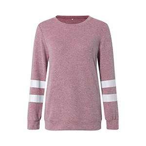 TOPIA STAR 2021 Womens Crewneck Sweatshirts Short/Long Sleeve T-Shirt Tunic Tops (Light Pink - 2 Long, S, s)