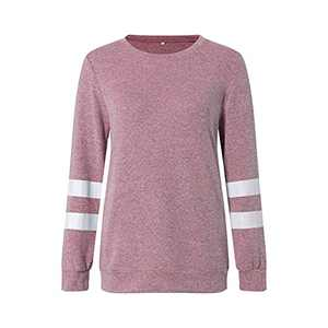 2021 Womens Tunic Tops Long Sleeve Loose Fitting Daily Casual Tops, Casual Fall Pullover Oversized T-shirts (Light Pink - 2, M)