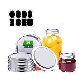 Tesinll Canning Lids-36pcs, 70MM Mason Jar Lids Regular Mouth,100% Fit & Airtight Split-Type Lids,Silver,Includes 8 stickers