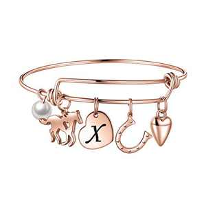 Anoup Horse Gifts for Girls Women Bracelet, Stainless Steel Horse Bracelet Engraved 26 Letters Initial X Horse Jewelry Horse Charm Bracelet Horse Bracelet for Girls Horse Lovers Rose Gold