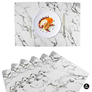 GUIFIER Marble Faux Leather Placemats, Set of 6 Table Mats, Easy to Clean, Heat & Stain Resistant for Office Conference Table,Dinging Home Decor
