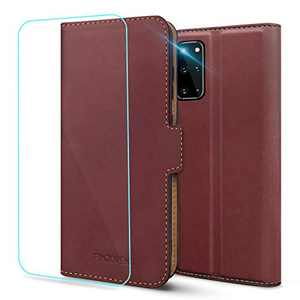 Pinzoveno Galaxy S20 Plus Wallet Case, Flip Phone Cover with Card Holder and Screen Protector Kickstand PU Leather Folio Samsung Galaxy S20+ Plus Cases for Women - Wine Red