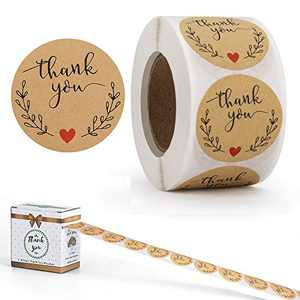 Thank You Stickers Roll, Adhesive Labels Kraft Paper with Red Hearts,Decorative Sealing Stickers for Christmas Gifts, Wedding, Party,1.5 Inches 500pcs