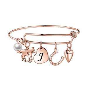 Anoup Horse Charm Bracelet for Girls Women, Stainless Steel Charm Bracelets Engraved 26 Letters Charm Bracelets for Women Girls Initial J Charm Bracelet Horse Gifts for Girls Kids Rose Gold