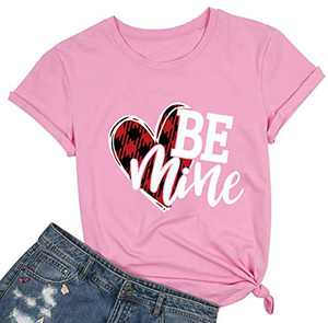 Women Be Mine Valentine's Day T Shirt Cute Graphic Blessed Shirt Funny Teacher Fall Tees Tops Pink