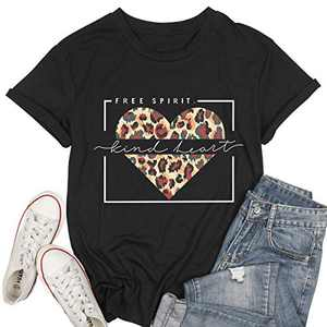 Women Free Spirit T Shirt Kind Heart Print Tops Leopard Graphic Tee Valentine's Day Tunic Black