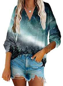 Angerella Womens Casual V Neck Button Up Loose Graphic Print Tunic Tops Long Sleeve Blouse Henley Shirts Oversized Starry Sky S