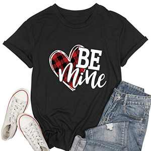 Women Be Mine Valentine's Day T Shirt Cute Graphic Blessed Shirt Funny Teacher Fall Tees Tops Black