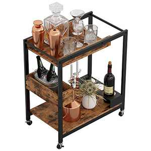 IRONCK Industrial Kitchen Serving Cart with Storage, Utility Cart with Wheels and Handle Universal Casters with Brakes, Mobile Wine Cart with Bottle Holder, Rustic Brown