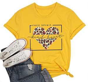Women Free Spirit T Shirt Kind Heart Print Tops Leopard Graphic Tee Valentine's Day Tunic Yellow