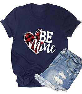 Women Be Mine Valentine's Day T Shirt Cute Graphic Blessed Shirt Funny Teacher Fall Tees Tops Blue