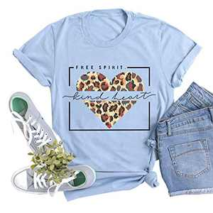 Women Free Spirit T Shirt Kind Heart Print Tops Leopard Graphic Tee Valentine's Day Tunic Blue