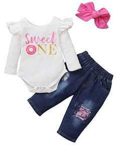 Baby Girls 1st Birthday Bodysuit Toddler Denim Jeans Outfit Set (White03,6-12 Months)