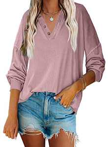 Angerella Womens Deep V Neck Sweatshirt with Buttons Henley Shirts Long Sleeve Pullover Tops Loose Blouse Pink S