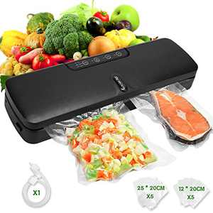 Food Saver Vacuum Sealer Machine, Yoobure Automatic Food Sealer for Food Preservation, Moist | Dry Modes with Built-in Cutter, Led Indicator Lights, 10 Vacuum Bags, Food Vacuum Sealer Starter Kit