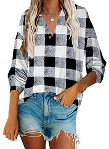 Angerella Womens V Neck Button Up Plaid Tunic Tops Loose Fitting Casual Long Sleeve Henley Blouse T-Shirt White Grid M