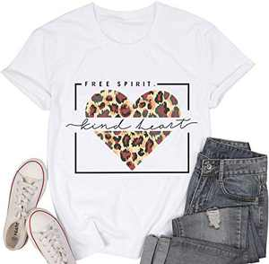 Women Free Spirit T Shirt Kind Heart Print Tops Leopard Graphic Tee Valentine's Day Tunic White