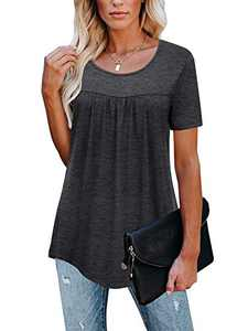 LEANI Women's Short Sleeve Tunic Tops Round Neck Loose Soft Pleated Blouse T-Shirts Darkgrey S