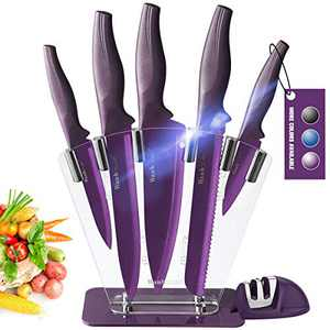 Wanbasion Purple 7 piece Kitchen Knife Sets Dishwasher Safe, Knife Block Stainless Steel with Knives, Professional Knife Set for Kitchen with Sharpener
