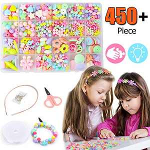 450pcs Colorful DIY Beads Set for Kids, Jewelry Making Kit for Baby Girls Age 3 4 5 6 7 8 9 10