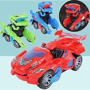 Transforming Dinosaur Toys, Automatic Transforming Dinosaur Car with Lights & Sound 2 in 1 Deformation Dinosaur LED Car Electric Dinosaur Transformer Car Toy Gifts for Boys Girls (Red)