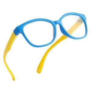 Kids Blue Light Blocking Glasses TPEE Rubber Anti-break Frame Computer Gaming TV Eyewear for Boys Girls Age 3-9 (Blue Frame)