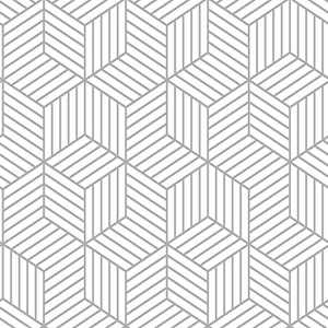 """17.71""""x197"""" White Geometric Hexagone Wallpaper Peel and Stick Wallpaper Silver Stripe Wallpaper Self Adhesive Contact Paper Thicker Shelf Cabinet Home Use Kitchen Decoration Covering Removable"""