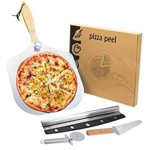 Aluminum Metal Pizza Paddle 12 inch X 14 inch, Foldable Wooden Handle Easy Storage, Pizza Peel for Baking & Homemade Pizza Bread with Rocker Cutter, Pizza Wheel and Server Set